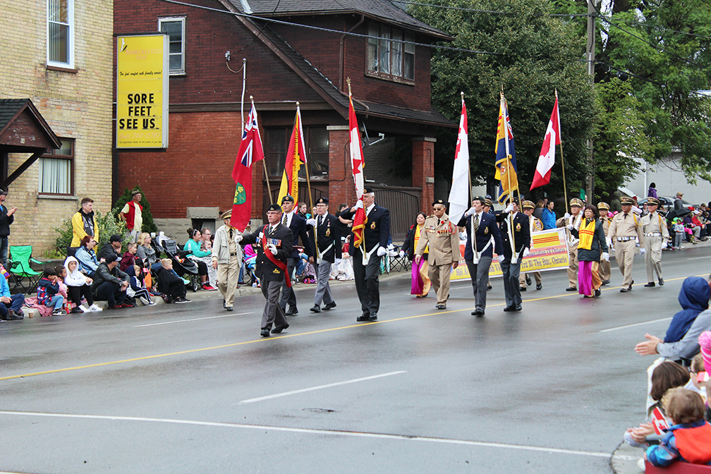 Military veterans lead the Oktoberfest parade in Kitchener on Oct. 9.