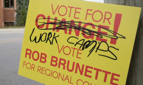 Regional council candidate's signs become vandalism target